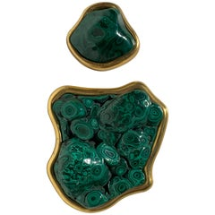Set of Two Rock Malachite and Gold Paper Weighs