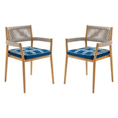 Set of Two Rodolfo Dordoni ''Dine Out' Outside Chairs, Teak, Rope and Fabric