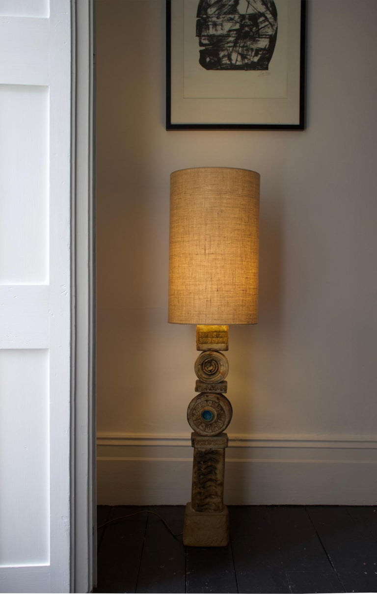 Mid-Century Modern Set of Two Rooke Studio Ceramic TOTEM Lamps Natural Tones, England, 1960s For Sale