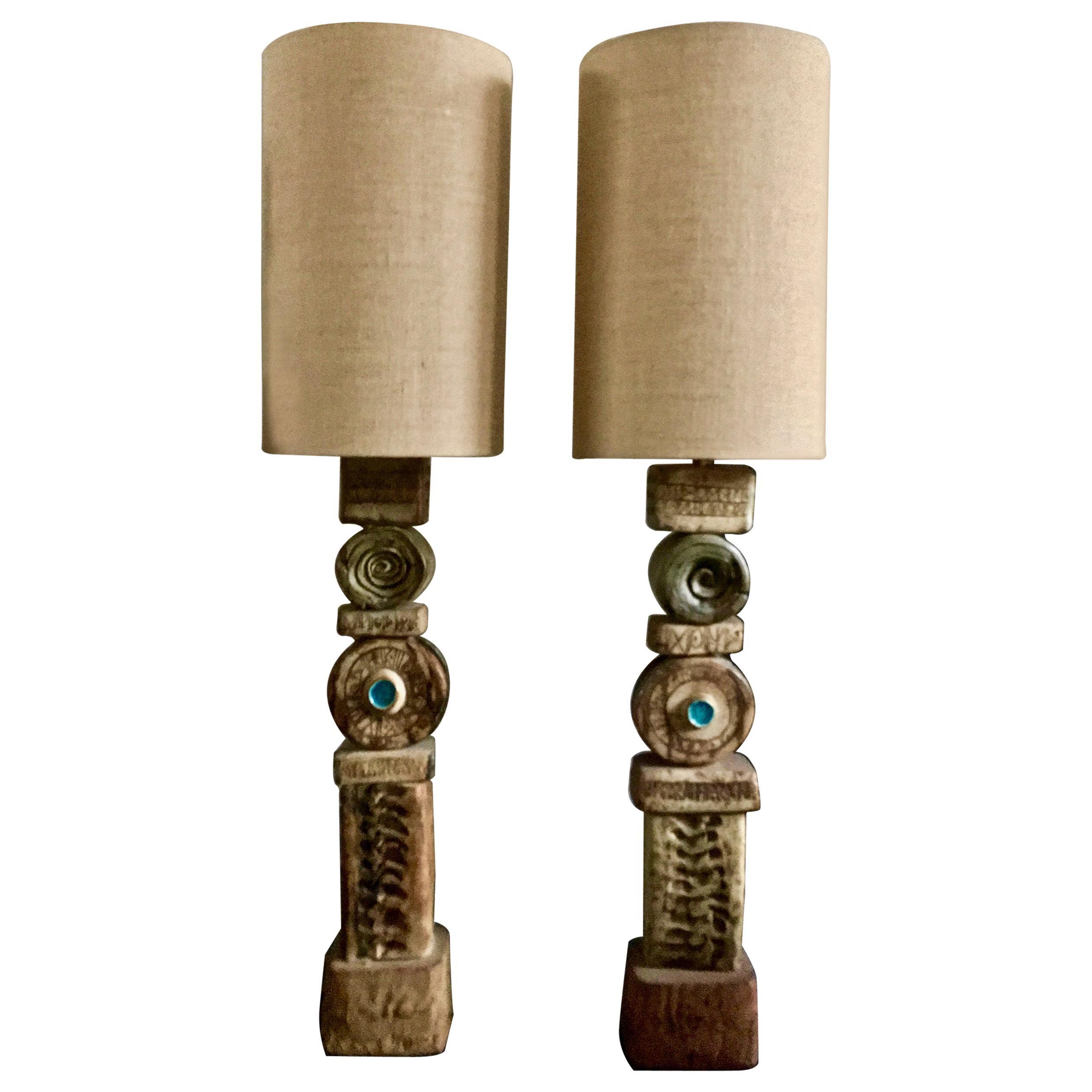 Set of Two Rooke Studio Ceramic TOTEM Lamps Natural Tones, England, 1960s