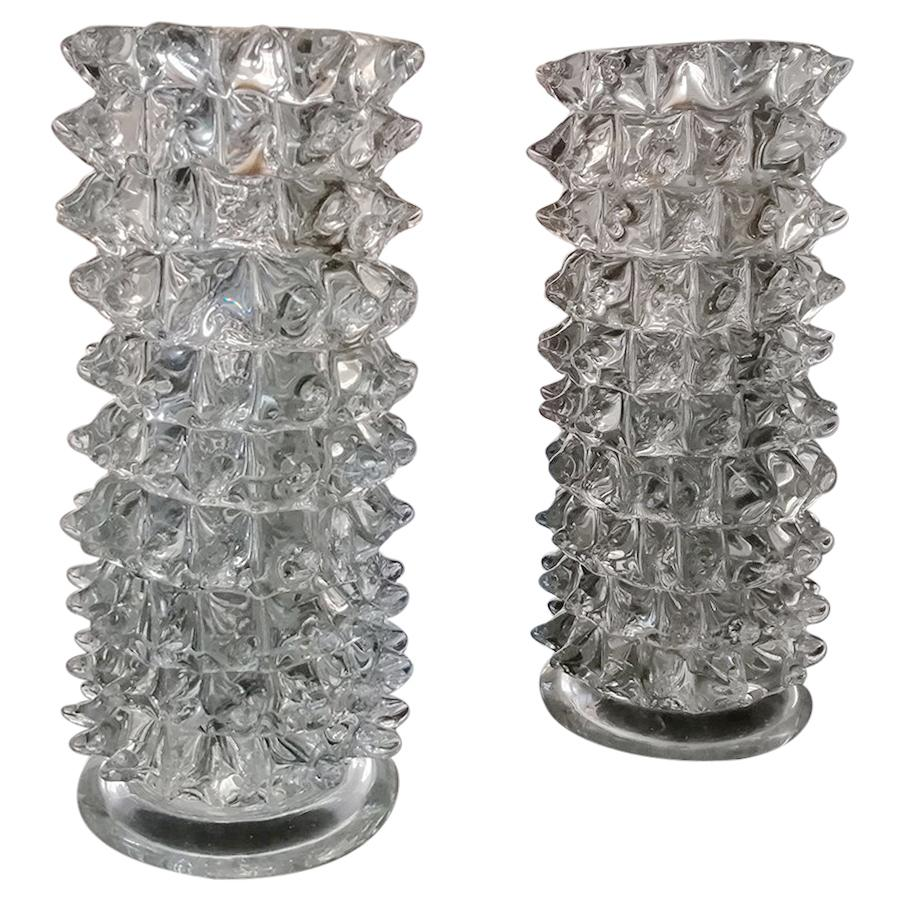 Set of Two Rostrato Vases in Murano Glass by Barovier & Toso