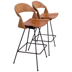 Set of Two Rush and Iron Swiveling Stools by Arthur Umanoff, Five Available