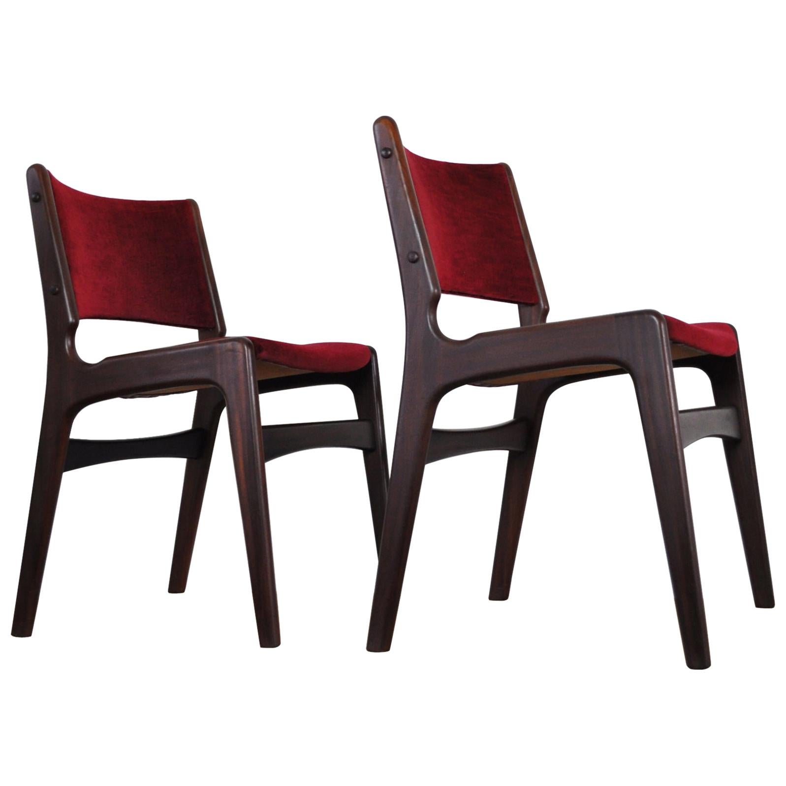 Set of Two Scandinavian Modern Dining Chairs in Solid Teak by Erik Buch