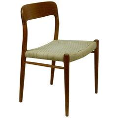 Set of Two Scandinavian Modern Mod 75 Teak Dining Chairs by Niels O. Møller