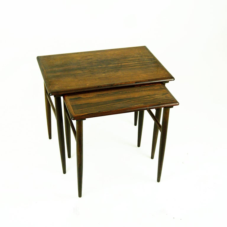 Mid-20th Century Set of Two Scandinavian Modern Rosewood Nesting Tables by Poul Hundevad For Sale