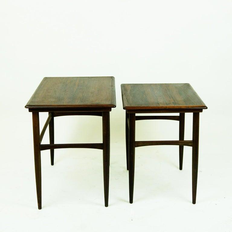 Teak Set of Two Scandinavian Modern Rosewood Nesting Tables by Poul Hundevad For Sale