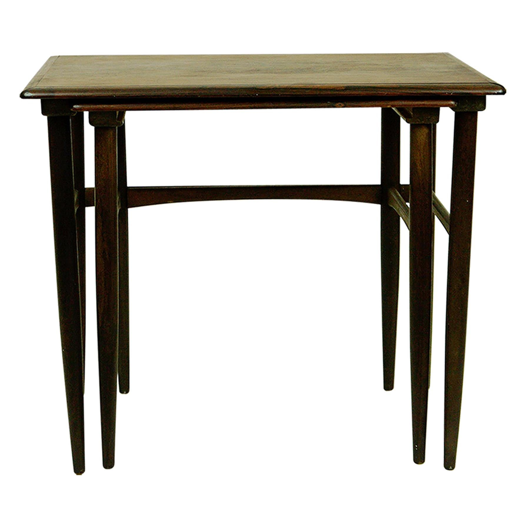 Set of Two Scandinavian Modern Rosewood Nesting Tables by Poul Hundevad