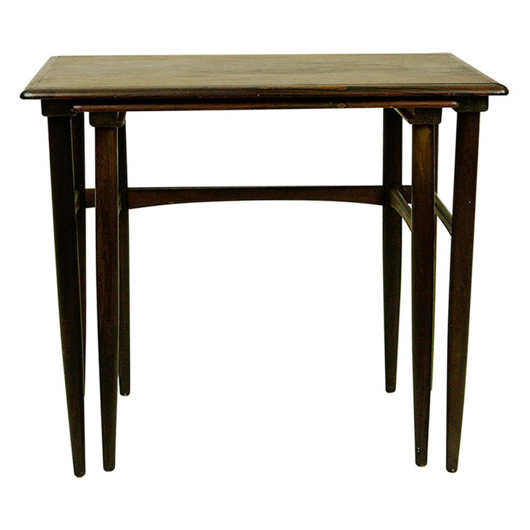 Set of Two Scandinavian Modern Rosewood Nesting Tables by Poul Hundevad For Sale