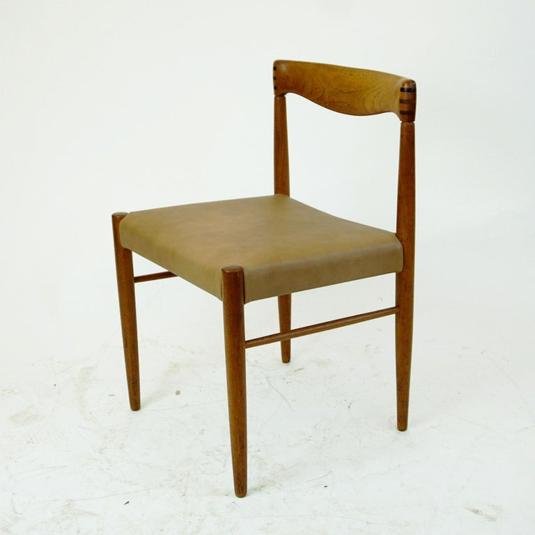 Mid-20th Century Set of Two Scandinavian Modern Teak Dining Chairs by H. W. Klein for Bramin For Sale