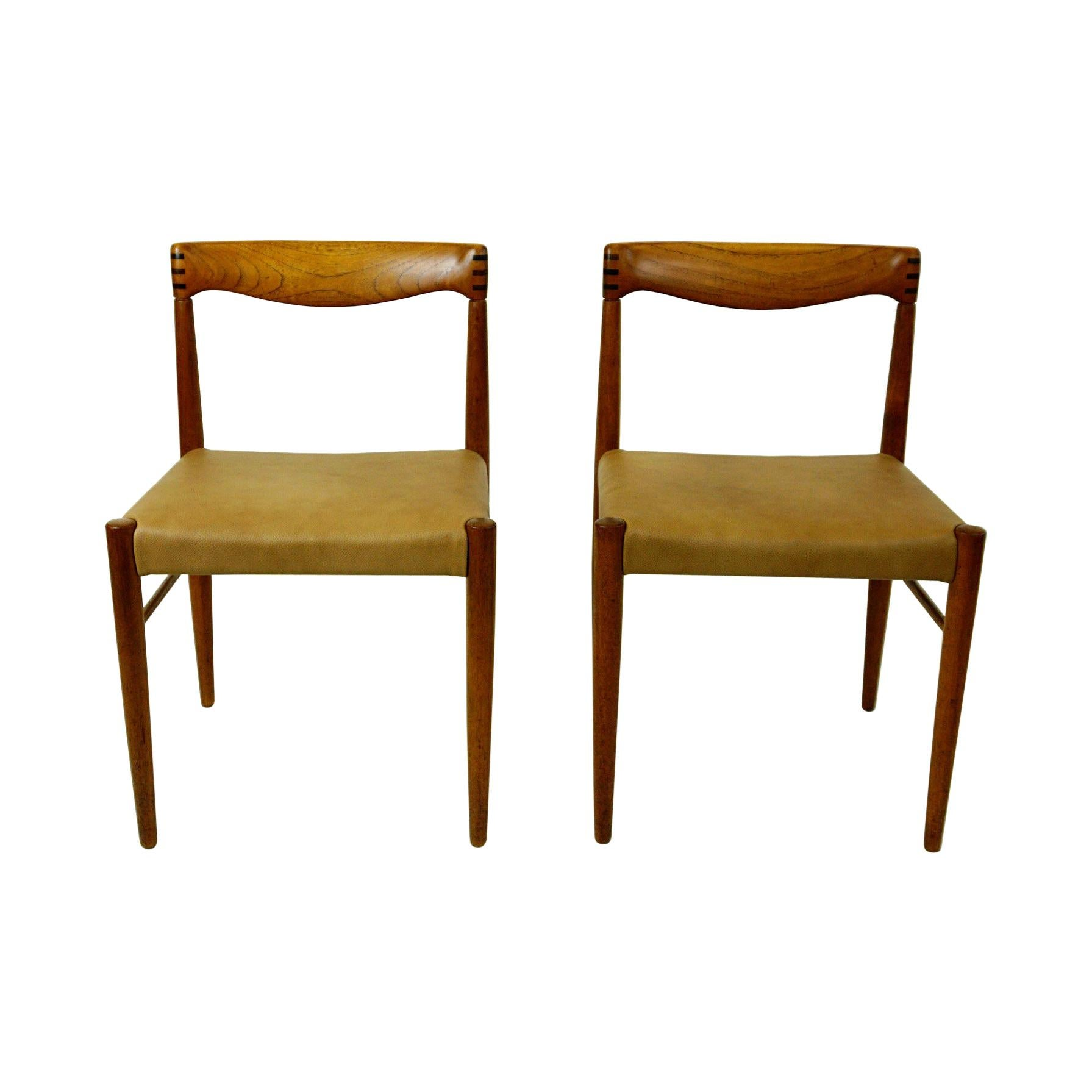 Set of Two Scandinavian Modern Teak Dining Chairs by H. W. Klein for Bramin