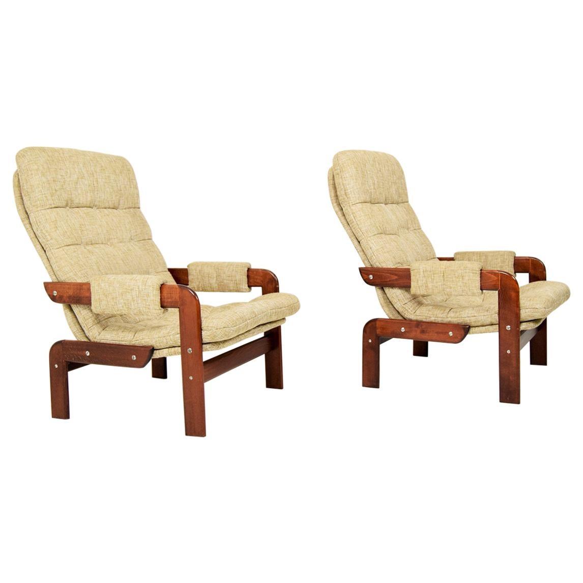 Set of Two Scandinavian Oak Armchairs, 1970s