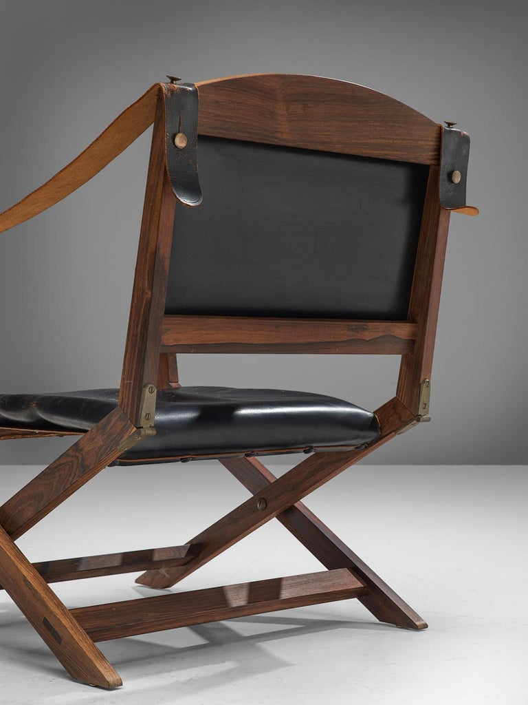 Mid-20th Century Set of Two Scandinavian Safari X-Chairs in Black Leather  For Sale
