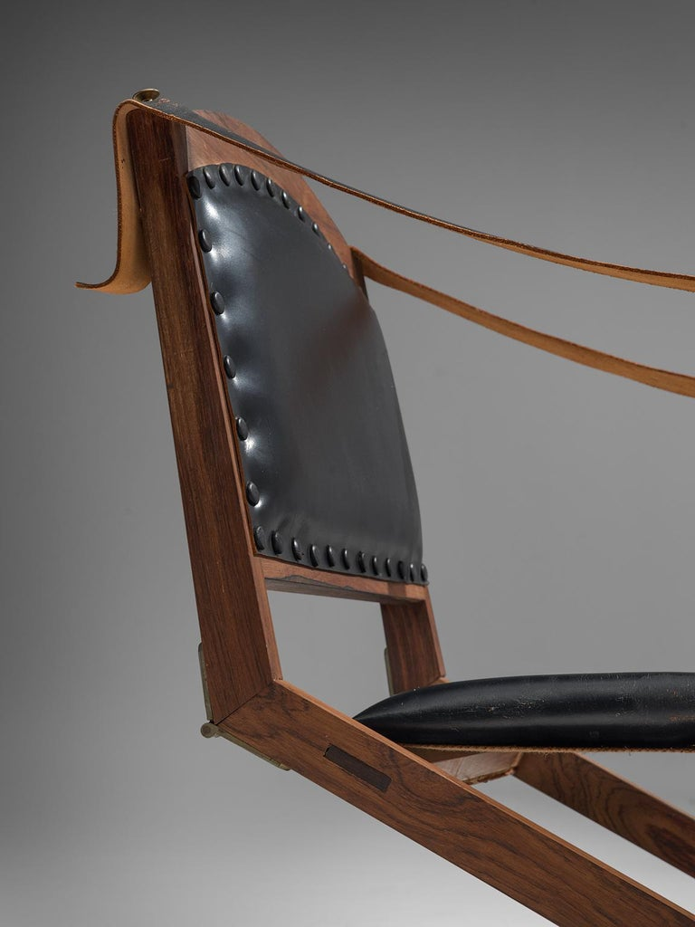 Set of Two Scandinavian Safari X-Chairs in Black Leather  For Sale 4