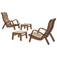 Set of Two Sculptural Czech Lounge Chairs with Ottomans