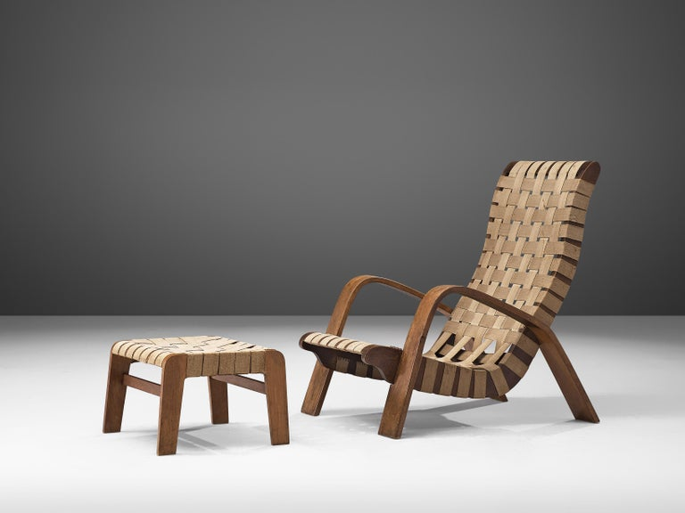Set of Two Sculptural Lounge Chairs with Ottomans For Sale 4