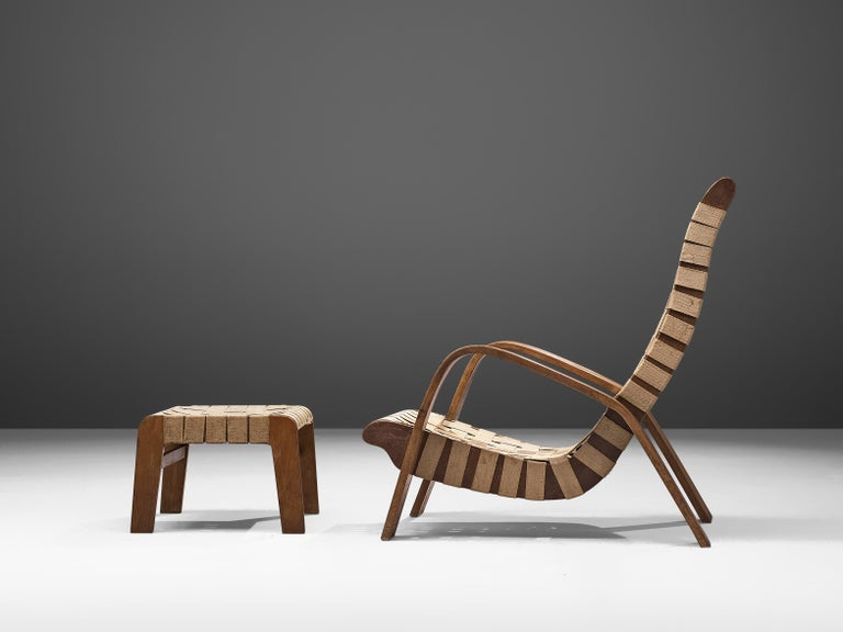 Set of Two Sculptural Lounge Chairs with Ottomans For Sale 6