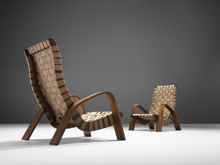 Czech Set of Two Sculptural Lounge Chairs with Ottomans For Sale