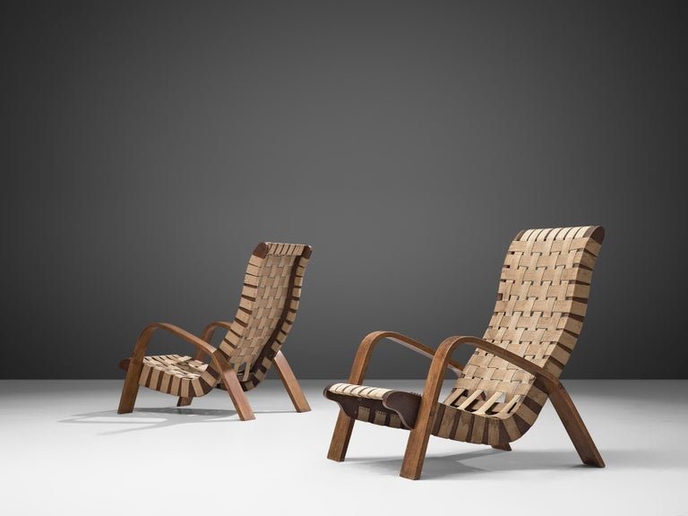 Set of Two Sculptural Lounge Chairs with Ottomans For Sale 1