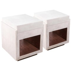 Set of Two Shagreen Nightstands by R&Y Augousti