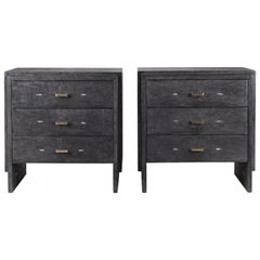 Set of Two Shagreen Nightstands with Beveled Drawers by R&Y Augousti