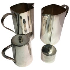 Set of Four Pieces Pair Silver Plate Water Carafes Coffee Pot and Sugar Bowl