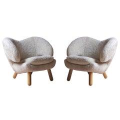 Set of Two Skandilock Sheep and Wood Pelican Chairs by Finn Juhl