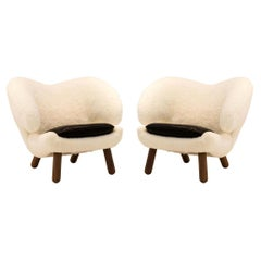Set of Two Skandilock Sheep, Leather and Wood Pelican Chairs by Finn Juhl