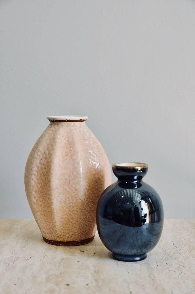 Glazed Set of Two Small French Art Deco Vases For Sale