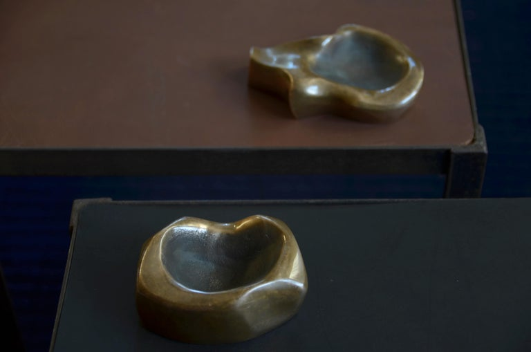 Late 20th Century Set of Two Small Patinated Bronze Bowls by Michel Jaubert For Sale
