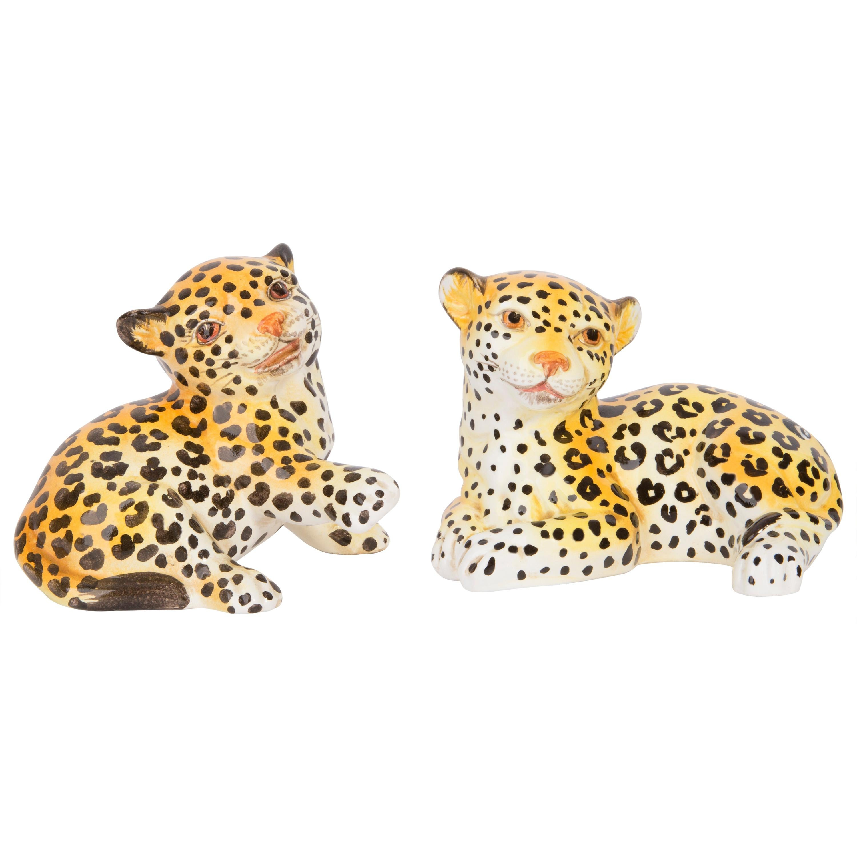 Set of Two Small Rare Ceramic Leopards Decorative Sculptures, Italy, 1960s