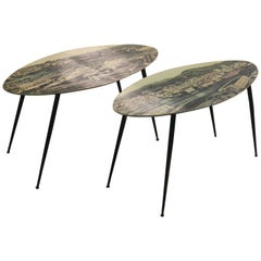 Set of Two Sofa Tables with Print of a Port in Genua on black legs, 1950s