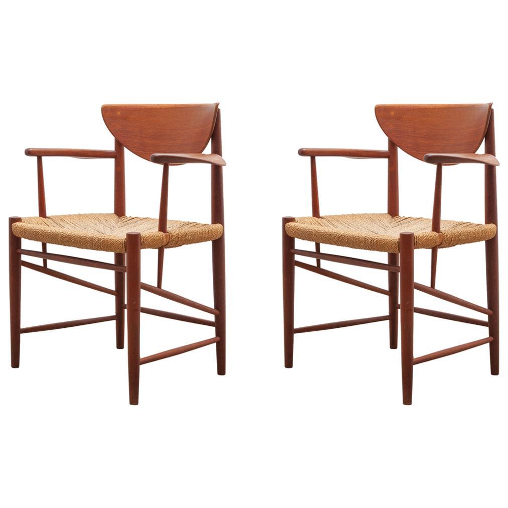 Set of Two Solid Teak Armchairs by Peter Hvidt, Orla Mølgaard-Nielsen, Denmark