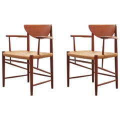 Set of Two Solid Teak Armchairs by Peter Hvidt, Orla Mølgaard-Nielsen, Denmark
