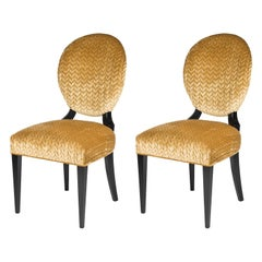 Set of Two Sophia Wood and Fabric Chairs