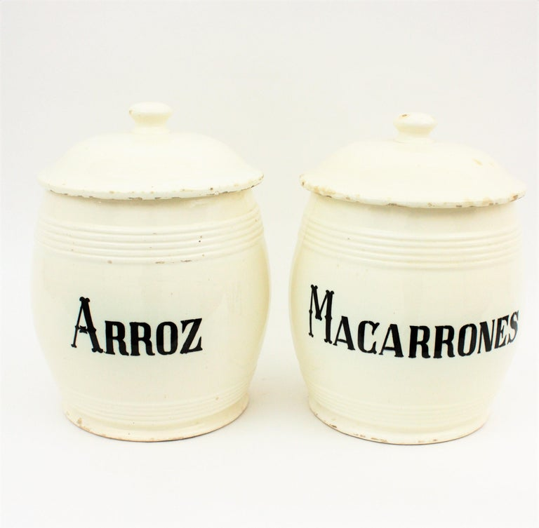 Set of Two Spanish 19th Century Large Ceramic Kitchen Canister Pots