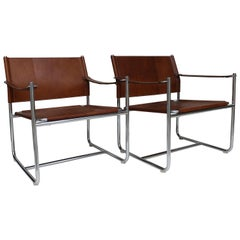 "Set of Two Steel and Brown Leather Easy Chair ""Amiral"" by K Mobring, Sweden 1967"