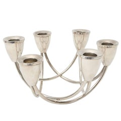 Set of Two Sterling Silver Candleholders by Maurice Duchin