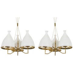 Set of Two Stilnovo Attributed Brass and White Glass Chandeliers, circa 1958