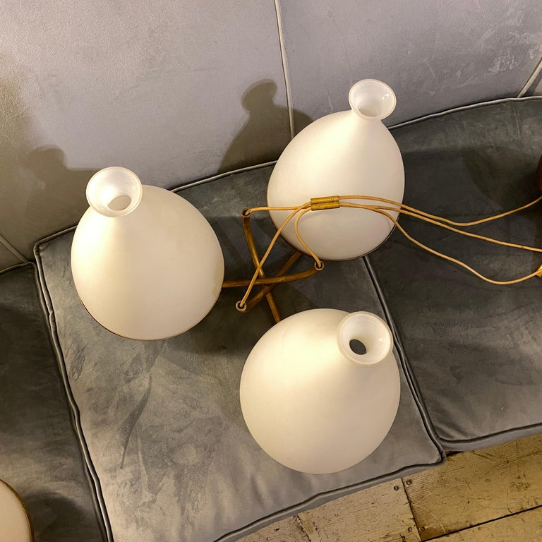 Set of Two Stilnovo Brass and White Glass Chandeliers, 1950s For Sale 5