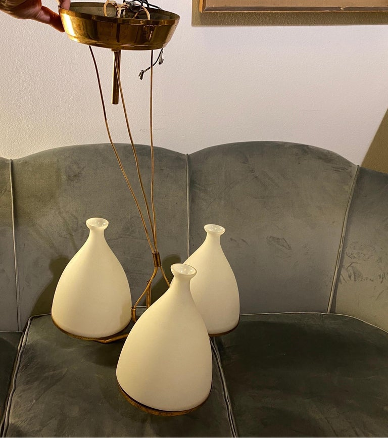 Set of Two Stilnovo Brass and White Glass Chandeliers, 1950s For Sale 13