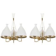 Set of Two Stilnovo Brass and White Glass Chandeliers, 1950s