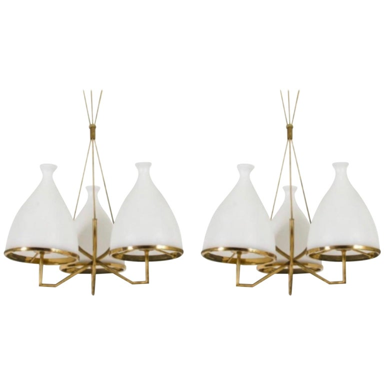 Set of Two Stilnovo Brass and White Glass Chandeliers, 1950s For Sale
