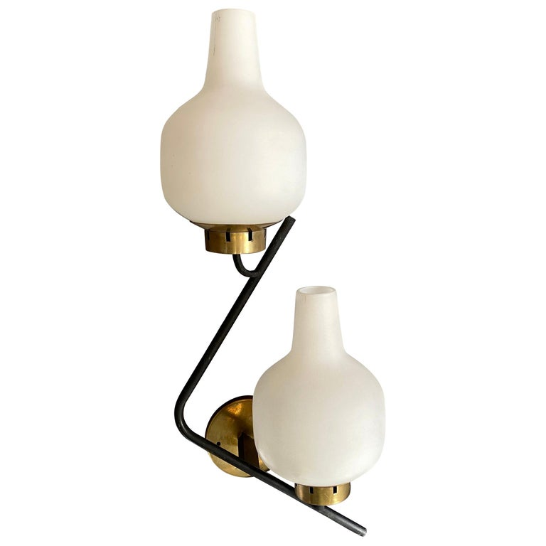 Set of Two Stilnovo Mid-Century Modern Huge Wall Sconces, circa 1950 For Sale