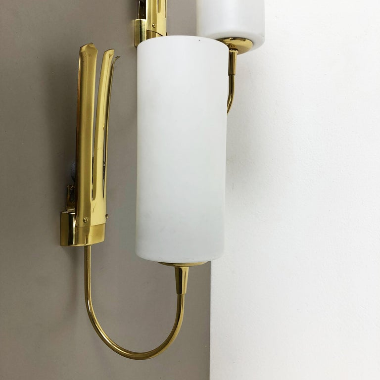 Set of Two Stilnovo Style Brass Italian Wall Lights Sconces, Italy, 1950s For Sale 6