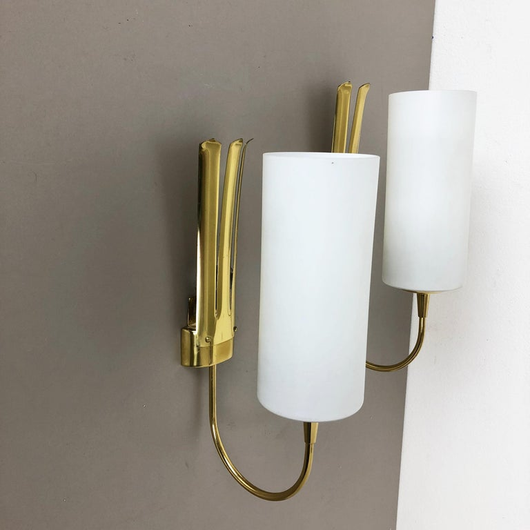 Set of Two Stilnovo Style Brass Italian Wall Lights Sconces, Italy, 1950s For Sale 8