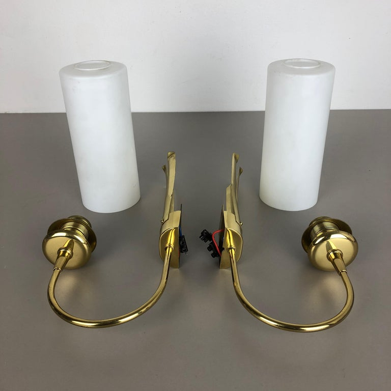 Mid-Century Modern Set of Two Stilnovo Style Brass Italian Wall Lights Sconces, Italy, 1950s For Sale
