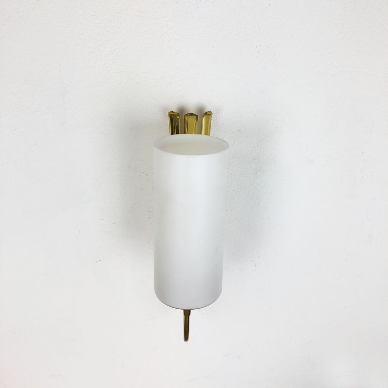 20th Century Set of Two Stilnovo Style Brass Italian Wall Lights Sconces, Italy, 1950s For Sale