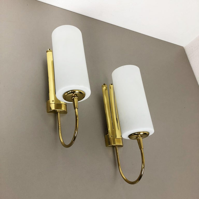 Metal Set of Two Stilnovo Style Brass Italian Wall Lights Sconces, Italy, 1950s For Sale