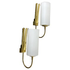Set of Two Stilnovo Style Brass Italian Wall Lights Sconces, Italy, 1950s