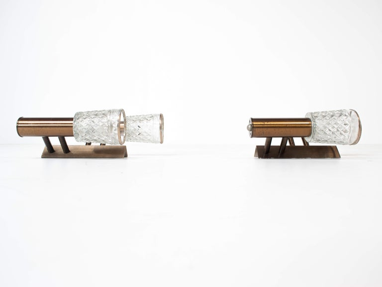 Mid-Century Modern Set of Two Stilux Wall Appliques in Glass and Metal from Italy, 1960s For Sale